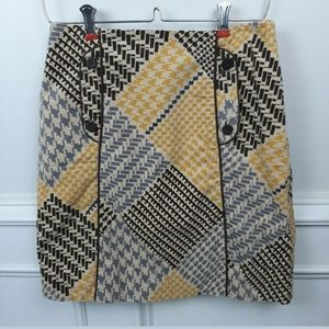 Anthro MAEVE Houndstooth Collage Corduroy Skirt 0